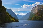 stock photo of fjord  - Fjord Naeroyfjord in Norway  - JPG
