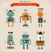 stock photo of mustache  - Set of cute hipster vintage robots - JPG