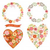 set of floral frames and heart with flowers