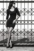image of tight dress  - young woman in tight dress lean on wrought iron fence full body shot bw - JPG
