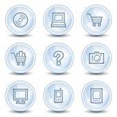 Electronics web icons set 1, light blue glossy circle buttons