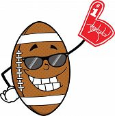 American Football Ball With Sunglasses Holding A Foam Finger