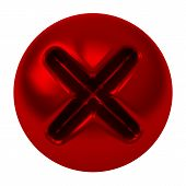 Red cross mark button, 3d