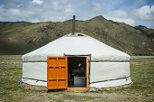 image of yurt  - Picture of typical Mongolian Yurt in Mongolia - JPG