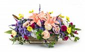 image of carnation  - Bouquet of rose cosmos hydrangea lily and carnation flowers in ceramic pot - JPG