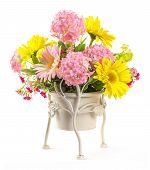 Bouquet Of Flowers In Steel Bucket