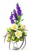 Bouquet Of Rose And Lavender In Glass Vase