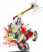 stock photo of paladin  - terrible knight with a huge ax attack through - JPG