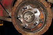 Rusting wheel brake assembly.