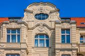stock photo of building relief  - Facade of Art Nouveau buildings in Berlin - JPG