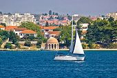 Sailing  In City Of Zadar Waterfront