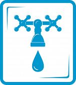image of spigot  - isolated blue tap spigot icon with droplet - JPG