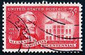Postage Stamp Usa 1957 Alexander Hamilton And Federal Hall