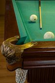Billiard Table, Hole, Balls And Cue On Green Cloth