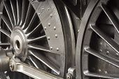 picture of chassis  - Steam train wheels close up detail shot of the chassis or running gear - JPG