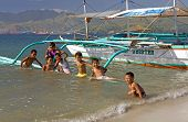 Boys Swim At Subic Bay, Philippines