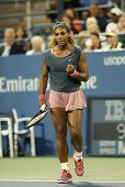 Sixteen times Grand Slam champion Serena Williams during her first round doubles match