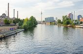 Spree river and Berlin skyline