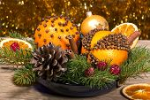 Christmas Decorative Composition With Orange Pomanders Close Ap