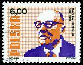 Vintage Postage Stamp. Waclaw Sierpinski.