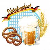 Round Oktoberfest Celebration Banner With Beer, Pretzel,wheat Ears