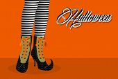 Happy Halloween Spooky Witch Legs Illustration Eps10 File.
