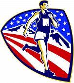 American Marathon Runner Running Retro