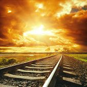 dramatic sky and railroad