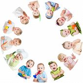 stock photo of indian apple  - Group of smiling kids babies children arranged in circle - JPG