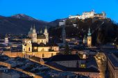 Salzburg skyline after sunset, Austria