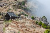 Beautiful mountain trail path near Pico do Arieiro on Madeira island Portugal