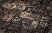 Old Printer Letters Spell Out War & Peace - Slanted