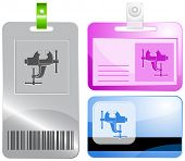 Clamp. Id cards. Raster illustration.
