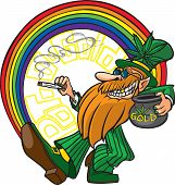 stock photo of pot gold  - A cool cartoon Leprechaun with his pot of gold man - JPG