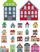 cartoon, cute, family houses set, vector