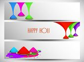 Beautiful header or banner set design with beautiful colours on grey background.