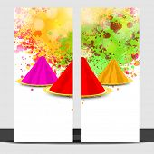 Beautiful banner set design with colour powder on grungy splash background.