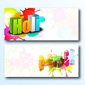 Beautiful header or banner set design with stylish text on colourful grungy background.