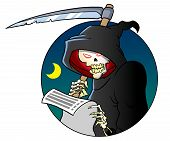 stock photo of scythe  - Terrible grim reaper skeleton holding a scythe - JPG