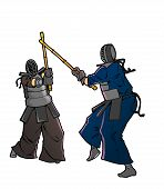 Two Kendo Fighters In Traditional Clothes