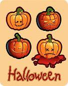 halloween's drawing - four pumpkin heads of Jack-O-Lantern ; one is bleeding