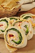 image of sandwich wrap  - Turkey and cheese wrap sandwiches with tortilla chips - JPG