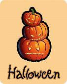 halloween's drawing - three pumpkin heads of jack-o-lantern
