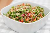 stock photo of vegan  - Organic Vegan Quinoa Salad with hazelnuts - JPG