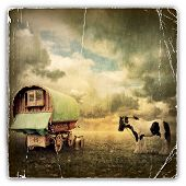 An Old Vintage Photograph of an Old Gypsy Caravan, Trailer, Wagon with a Horse