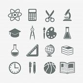 set of monochrome school icons
