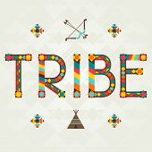 Tribe. Design word with ornament.