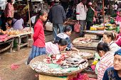 Khmer People Shopping At Traditional Food Marketplace