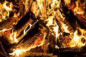 Blazing flames.