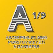 Retro Stripe Style 1/9 Alphabet And Numbers, Eps 10 Vector Editable, No Clipping Masks